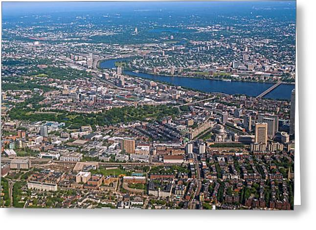 Charles River Greeting Cards - Boston Panorama Greeting Card by Mitch Cat