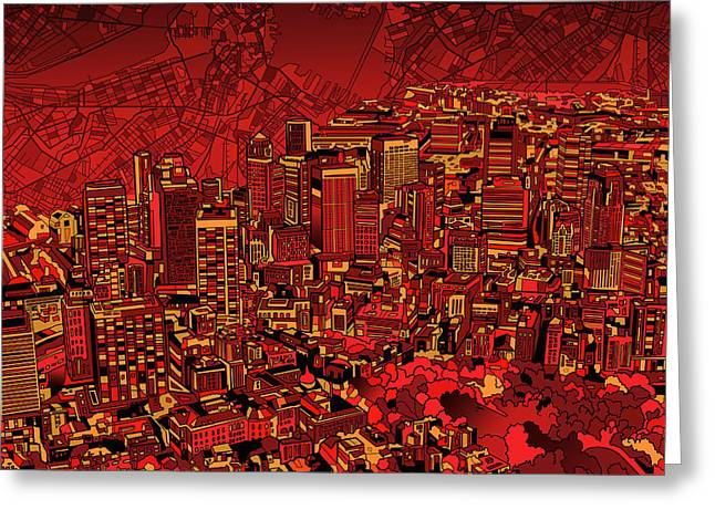 America City Map Greeting Cards - Boston Panorama Red Greeting Card by MB Art factory