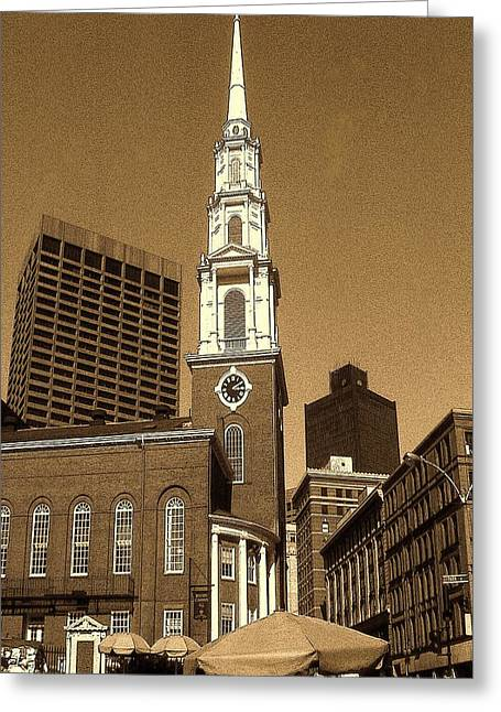Historical Images Drawings Greeting Cards - Boston Park Street Church - Architecture Greeting Card by Peter Fine Art Gallery  - Paintings Photos Digital Art