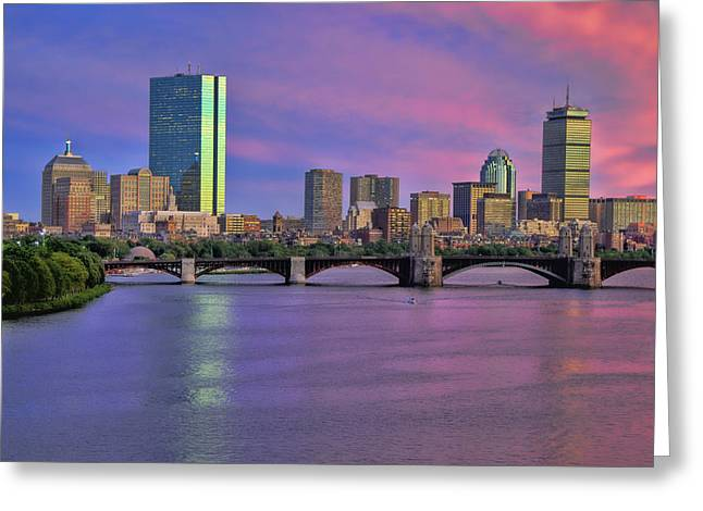 Charles River Greeting Cards - Boston Pastel Sunset Greeting Card by Joann Vitali