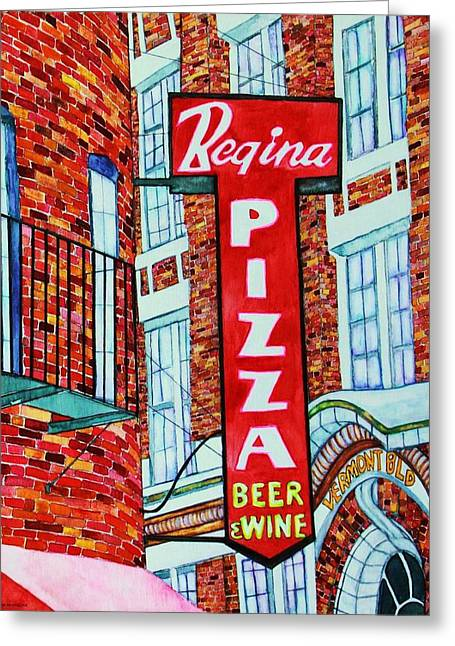 Italian Restaurant Greeting Cards - Boston Pizzeria  Greeting Card by Janet Immordino
