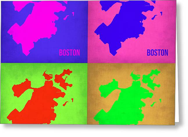 City. Boston Greeting Cards - Boston Pop Art Map 1 Greeting Card by Naxart Studio