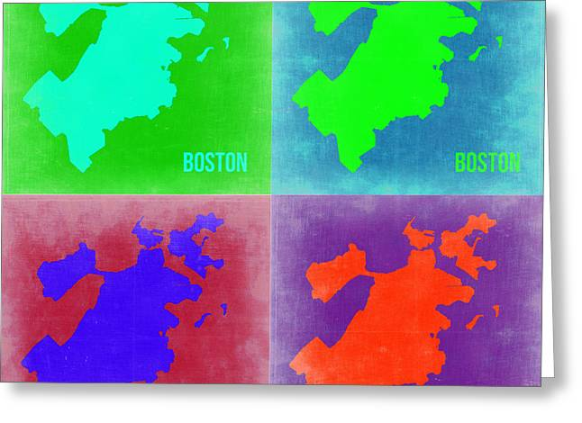 Boston Digital Art Greeting Cards - Boston Pop Art Map 2 Greeting Card by Naxart Studio