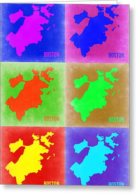 Boston Digital Art Greeting Cards - Boston Pop Art Map 3 Greeting Card by Naxart Studio
