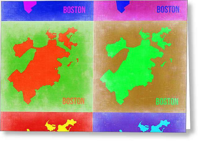 Boston Pop Art Map 3 Greeting Card by Naxart Studio