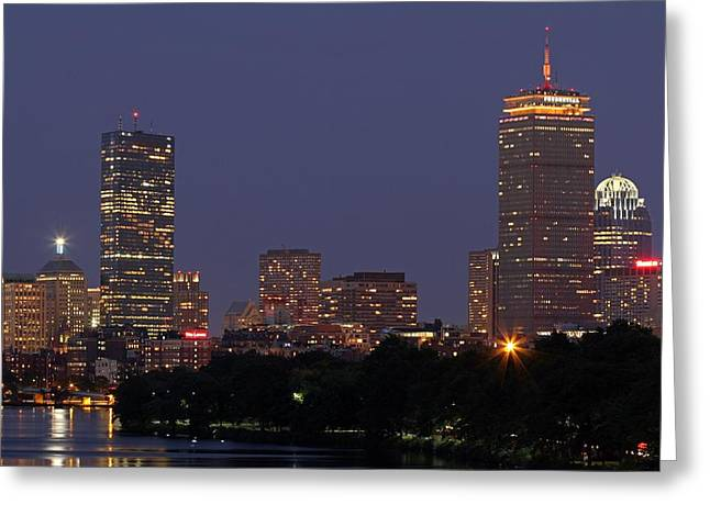 Boston Prudential Center In Bruins Yellow Greeting Card by Juergen Roth