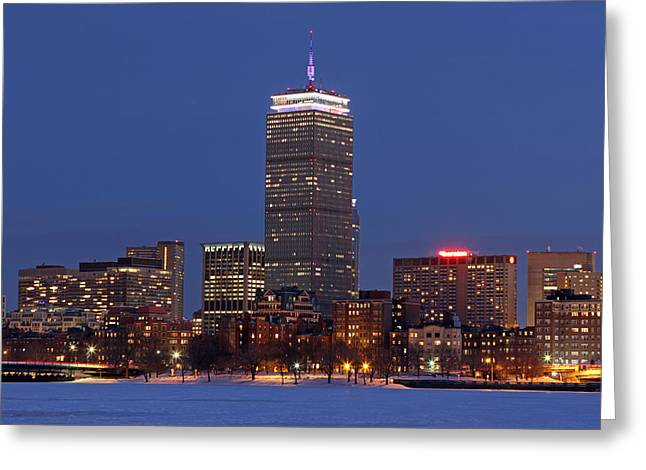 Boston Skyline Photo Greeting Cards - Boston Prudential Center in Patriots Gear Greeting Card by Juergen Roth