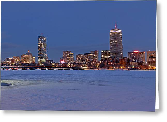 Boston Skyline Photo Greeting Cards - Boston Prudential Center Lit in Blue and Red for Super Bowl XLIX Greeting Card by Juergen Roth