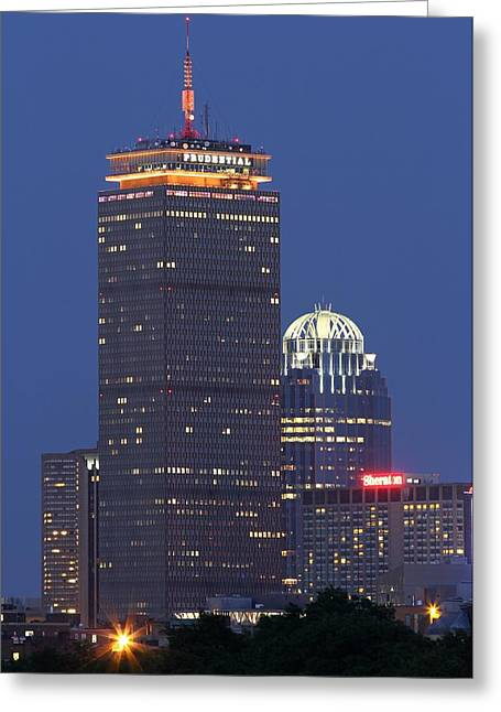 Hockey Scenes Greeting Cards - Boston Prudential Tower Greeting Card by Juergen Roth