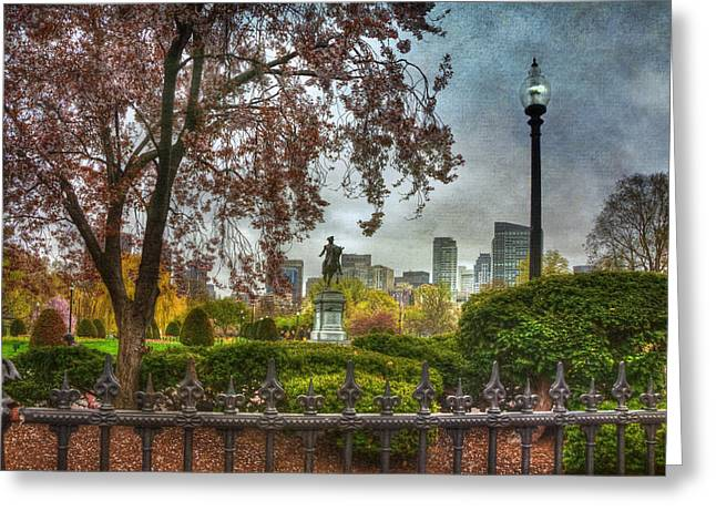 Boston Garden Greeting Cards - Boston Public Garden George Washington Statue - Boston Greeting Card by Joann Vitali