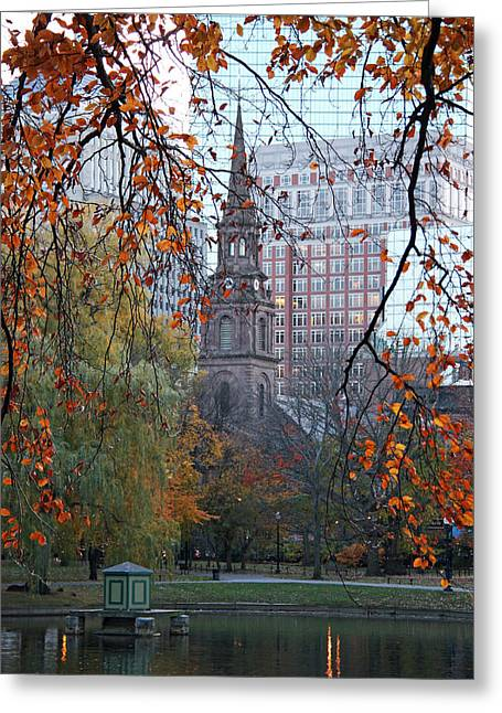 Boston Garden Greeting Cards - Boston Public Garden in Autumn Greeting Card by Kathy Yates