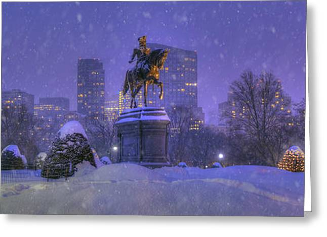 New England Snow Scene Greeting Cards - Boston Public Garden in Snow with Boston Skyline Greeting Card by Joann Vitali