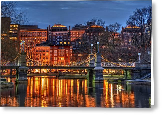Boston Nights Greeting Cards - Boston Public Garden Lagoon Greeting Card by Joann Vitali