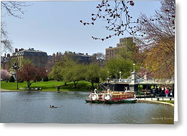 Massachusetts Pyrography Greeting Cards - Boston Public Garden Greeting Card by Monica Scanlan