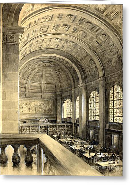 Bates Drawings Greeting Cards - Boston Public Library Bates Hall 1896 Greeting Card by Padre Art