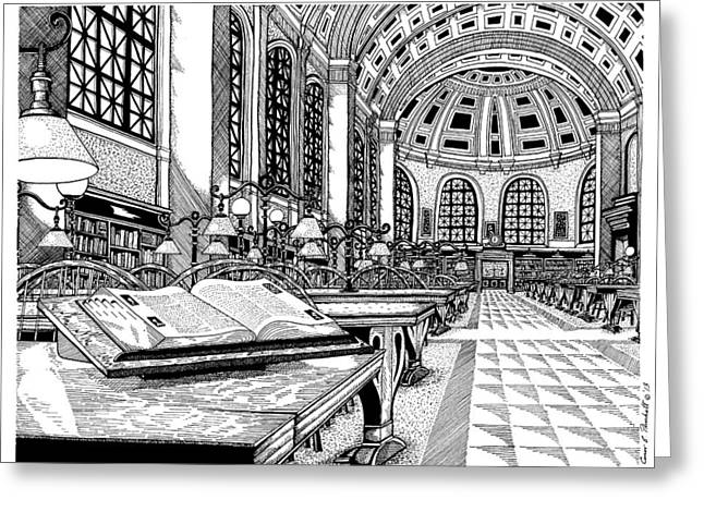 Conor Drawings Greeting Cards - Boston Public Library Bates Hall Greeting Card by Conor Plunkett