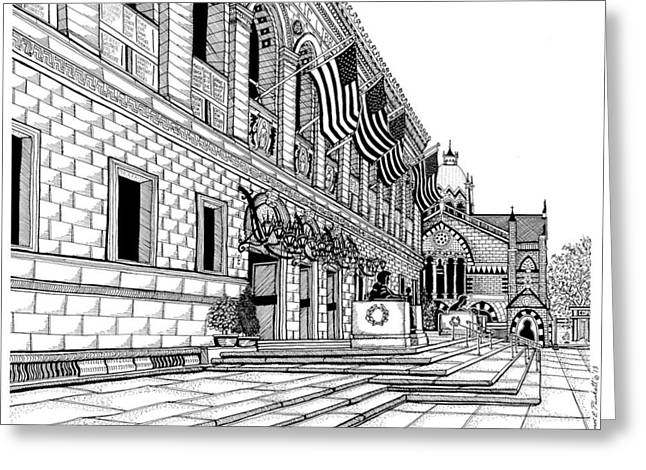 Boston Ma Drawings Greeting Cards - Boston Public Library Greeting Card by Conor Plunkett