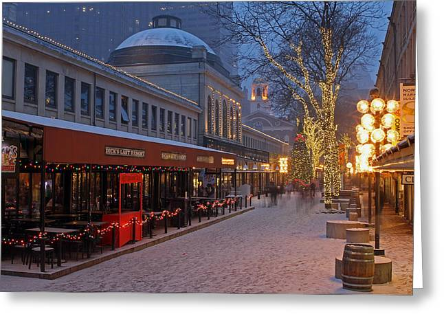 Snowy Night Night Greeting Cards - Boston Quincy Market and Faneuil Hall Greeting Card by Juergen Roth