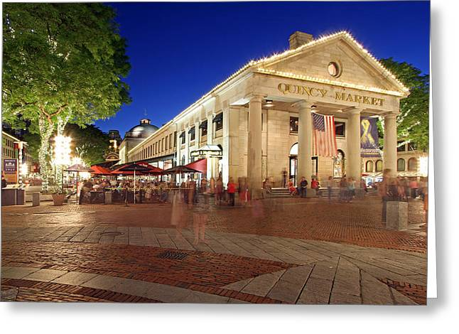 Historic England Greeting Cards - Boston Quincy Market near Faneuil Hall Greeting Card by Juergen Roth
