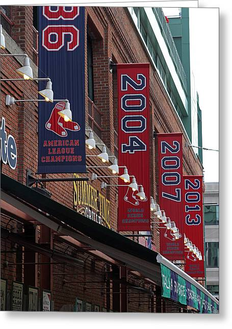 Press Box Greeting Cards - Boston Red Sox 2013 Championship Banner Greeting Card by Juergen Roth