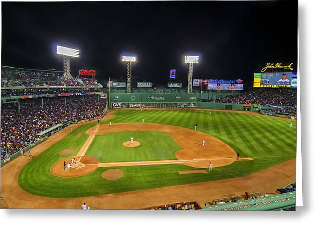 Fenway Park Greeting Cards - Boston Red Sox and New York Yankees at Fenway Park - art Greeting Card by Donna Doherty