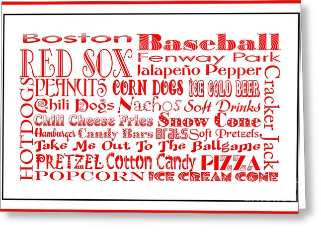 Red Sox Art Greeting Cards - Boston Red Sox Game Day Food 3 Greeting Card by Andee Design