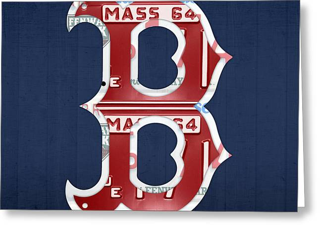 Auto Greeting Cards - Boston Red Sox Logo Letter B Baseball Team Vintage License Plate Art Greeting Card by Design Turnpike