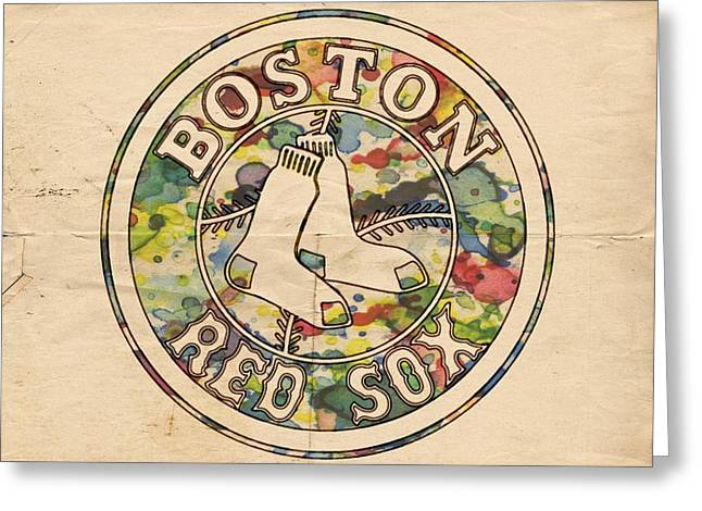 Boston Red Sox Poster Greeting Cards - Boston Red Sox Poster Greeting Card by Florian Rodarte