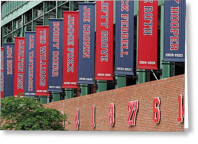 Carl Yastrzemski Greeting Cards - Boston Red Sox Retired Numbers Along Fenway Park Greeting Card by Juergen Roth