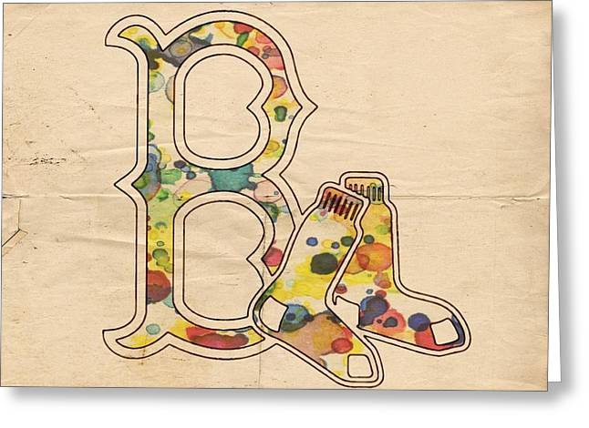 Boston Red Sox Poster Greeting Cards - Boston Red Sox Vintage Logo Greeting Card by Florian Rodarte