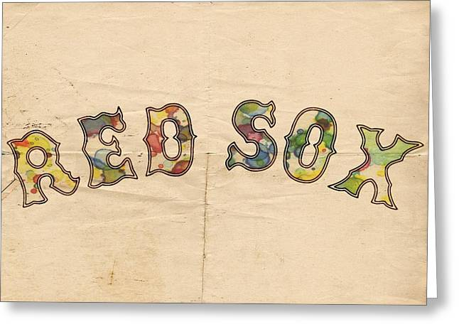 Boston Red Sox Vintage Poster Greeting Card by Florian Rodarte