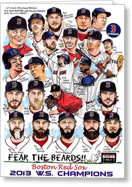Mlb Art Greeting Cards - Boston Red Sox WS Champions Greeting Card by Dave Olsen
