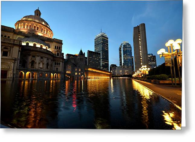 Boston Ma Greeting Cards - Boston Reflecting Pool Christian Science Church Greeting Card by Toby McGuire