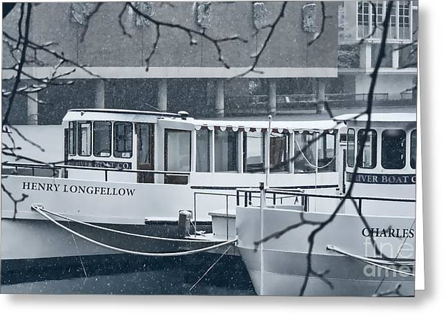 Snow . Bridge Greeting Cards - Boston River Boats in the Snow  Greeting Card by Douglas Barnard