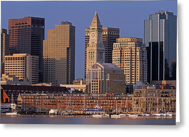Custom House Tower Greeting Cards - Boston Sail Boats and Cityscape Greeting Card by Juergen Roth