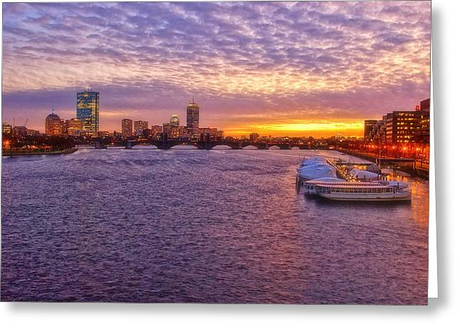Charles River Greeting Cards - Boston Sky Greeting Card by Joann Vitali