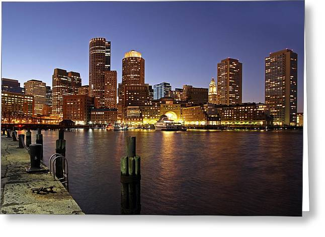 City. Boston Greeting Cards - Boston Skyline and Fan Pier Greeting Card by Juergen Roth