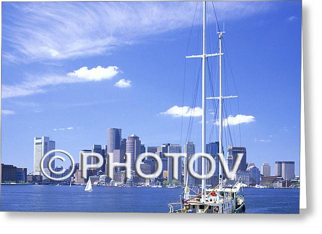 Sailboat Images Greeting Cards - Boston skyline and sailboat - Massachusetts - Limited Edition Greeting Card by Hisham Ibrahim