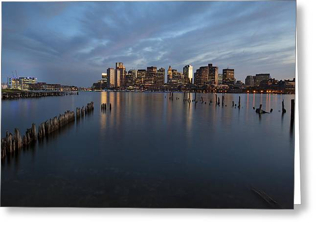 Historic City Pier Greeting Cards - Boston Skyline at Dusk Greeting Card by Eric Gendron