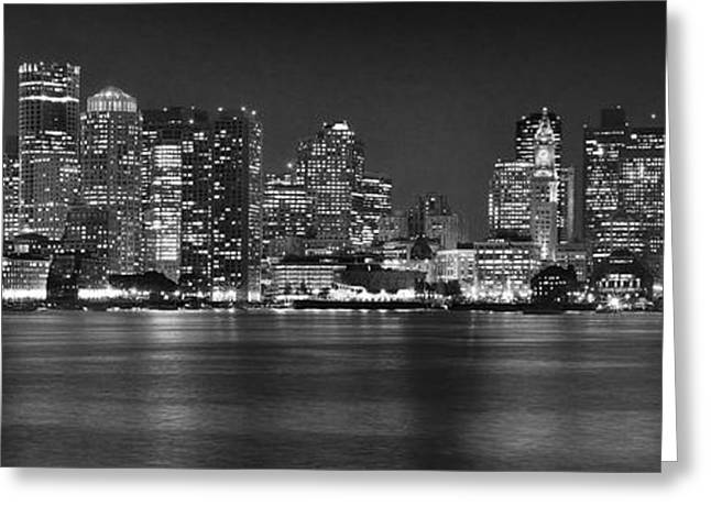 Boston Harbor Greeting Cards - Boston Skyline at NIGHT Panorama Black and White Greeting Card by Jon Holiday
