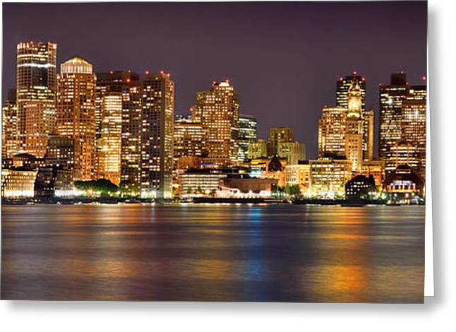Downtown Greeting Cards - Boston Skyline at NIGHT Panorama Greeting Card by Jon Holiday