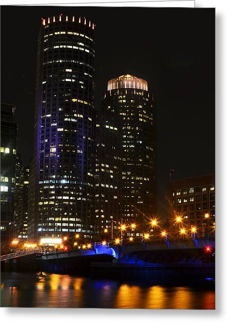 Boston Ma Greeting Cards - Boston Skyline at Night Greeting Card by Toby McGuire