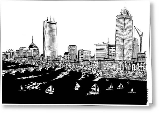 Charles River Drawings Greeting Cards - Boston Skyline Back Bay Greeting Card by Conor Plunkett