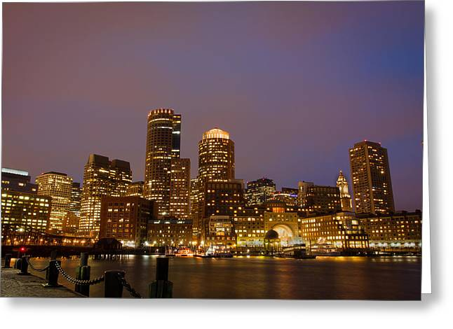 Boston Ma Pyrography Greeting Cards - Boston Skyline Blue Hour Greeting Card by Stewart Mellentine