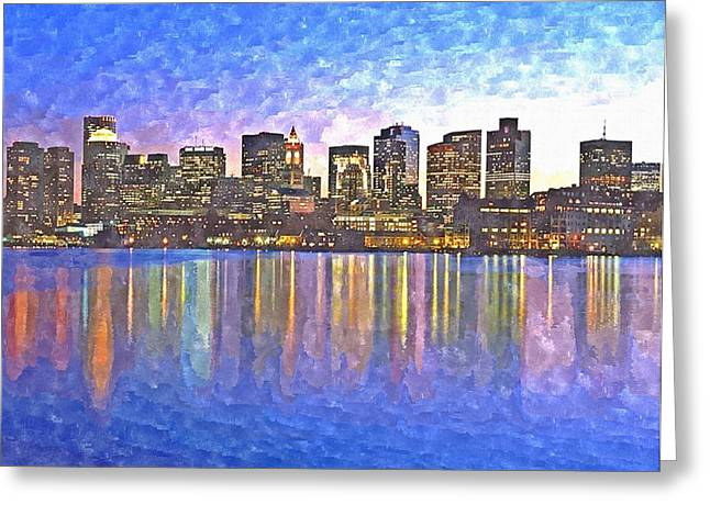 Technique Greeting Cards - Boston skyline by night Greeting Card by Rachel Niedermayer