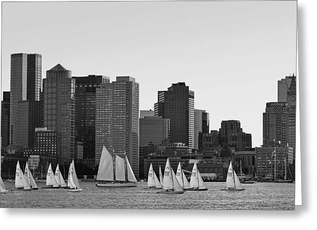 Ocean Photography Greeting Cards - Boston Skyline from East Boston Black and White Greeting Card by Toby McGuire