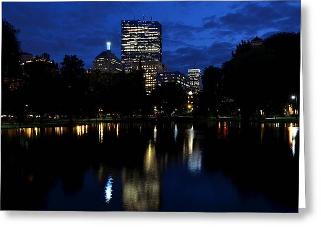 Boston Ma Greeting Cards - Boston skyline from the Boston Public Garden Greeting Card by Toby McGuire