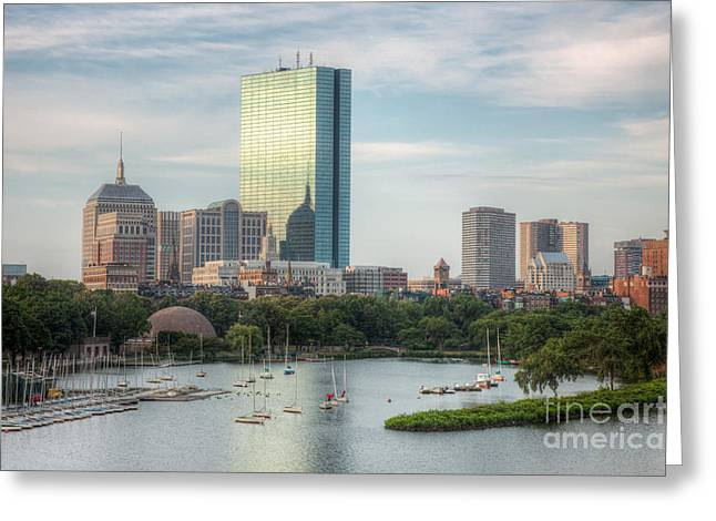 Blue Hour Greeting Cards - Boston Skyline I Greeting Card by Clarence Holmes