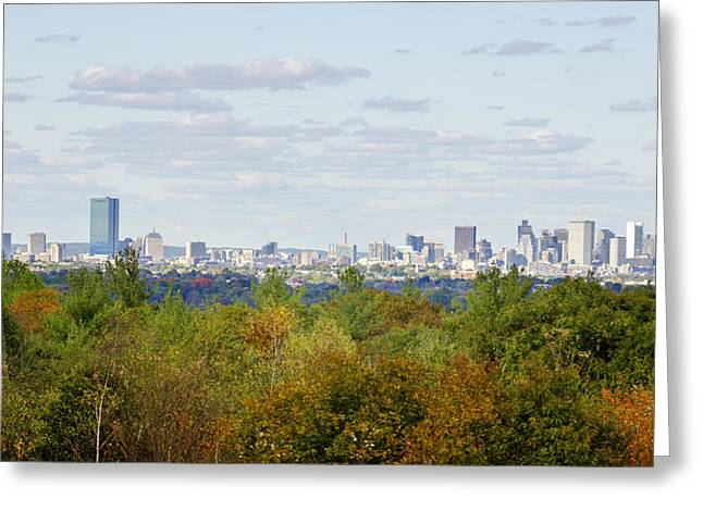 Boston Red Sox Greeting Cards - Boston Skyline in Autumn Greeting Card by Donna Doherty