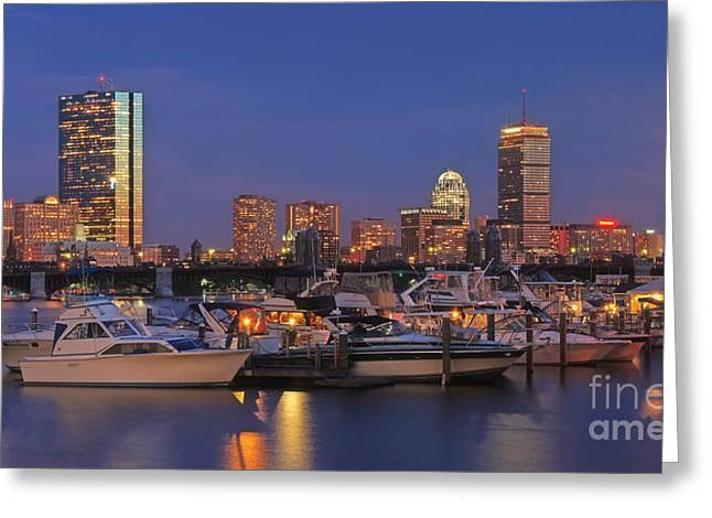 Boston Skyline In Blue And Gold Greeting Card by Joann Vitali